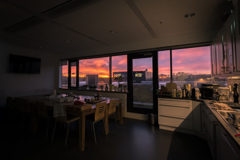 Kitchen at sunset