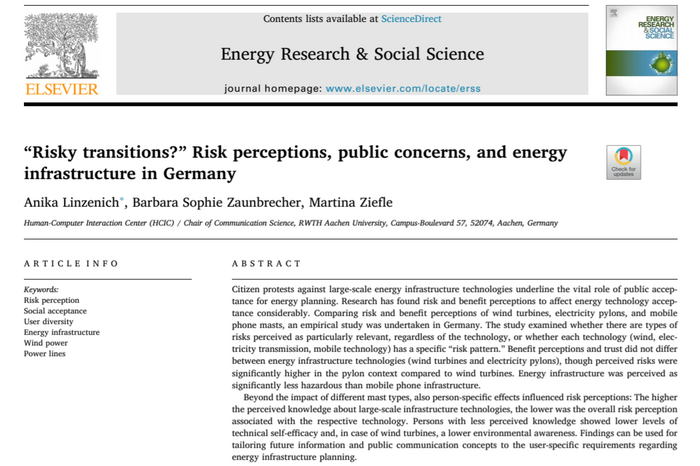 "Linzenich, A., Zaunbrecher, B. S., & Ziefle, M. (2020). ""Risky transitions?"" Risk perceptions, public concerns, and energy infrastructure in Germany. Energy Research & Social Science, 68, 101554."